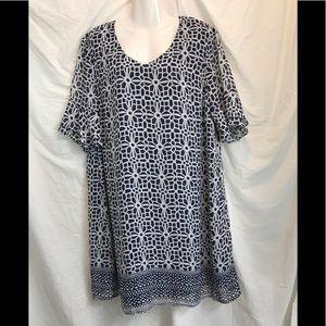 Tacera blue and white short sleeve dress